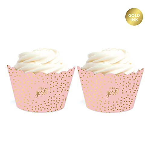 Andaz Press Blush Pink and Metallic Gold Confetti Polka Dots Baby Shower Party Collection, Cupcake Wrappers, 20-Pack (Wrapper Collection)