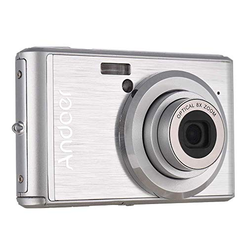 20MP 1080P Digital Camera FHD, Andoer Video Camcorder 8X Optical Zoom Anti-Shake 2.4inch LCD Screen 2pcs Rechargeable Batteries Kids
