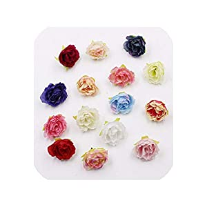 END GAME 20pcs 4cm Silk Flower Mini Rose Cloth Artificial Flower for Wedding Party Home Room Decoration 48