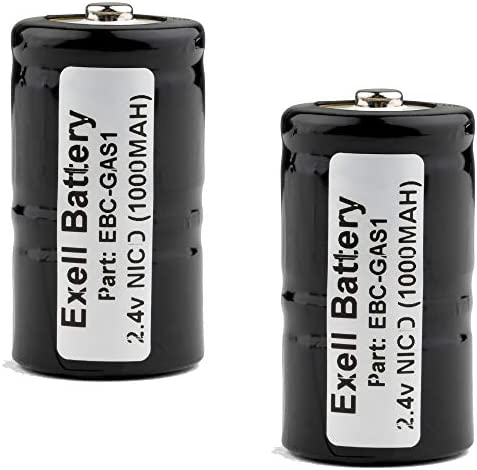 2-PACK Exell 2.4-Volt Nickel-Cadmium Battery, EBC-GAS1, 800 mAh for Combustible Gas Detectors 405421, 405421-00, 405421-000, 405421100, ANIC0286, NABC 405421100 TIF 8800, 8800A, 8806A, 8850