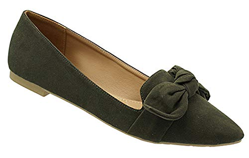 Shop Pretty Girl Womens Flats Casual Comfortable Chic Ballet Flat Shoes Slip-on Fashion Loafer Olive Micro Suede Almond Toe Flat W/Bow 6 M US