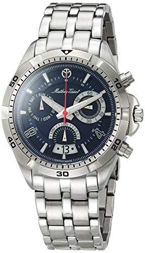 MATHEY-TISSOT Correa de acero inoxidable de cuarzo Bolton para hombre, plateado, 22 reloj informal (modelo: H5002CHABU)