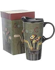 TZSSP Coffee Ceramic Mug Porcelain Latte Tea Cup with Lid 17oz. Golf