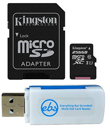 Kingston 256GB SDXC Micro Canvas Select Memory Card and Adapter Bundle Works with Samsung Galaxy A50, A40, A30 Cell Phone (SDCS/256GB) Plus 1 Everything But Stromboli (TM) MicroSD and SD Card Reader