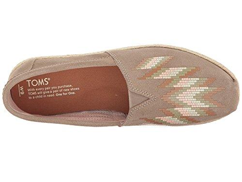 TOMS Women's Alpargata Suede Espadrille, Size: 9.5 B(M) US, Color Taupe Suede Zigzag PRNT