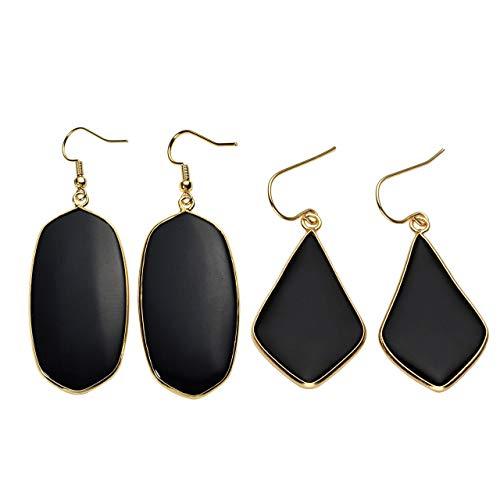 (Top Plaza 2 Pcs Womens Fashion Natural Gemstone Oval Rhombus Ear Hook Water Drop Ear Pendant Dangle Earring Healing Crsytals Jewelry Set(Black Agate Onyx) )