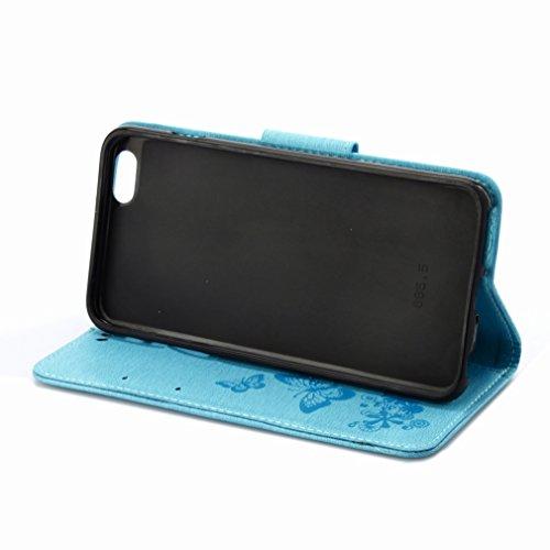 Custodia Apple iphone 6 6s (4.7) Cover Case, Ougger Fiore Farfalla Portafoglio PU Pelle Magnetico Stand Morbido Silicone Flip Bumper Protettivo Gomma Shell Borsa Custodie con Slot per Schede (Blu)