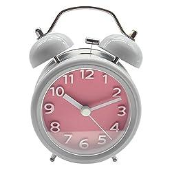 Jili Online 3 4 Vintage Double Twin Bell Alarm Clock, Pointer Quartz Analogue Movement Clock, Desk Top Table Bedside Alarm Clock w/Night Light - 3D Number Pink, 3