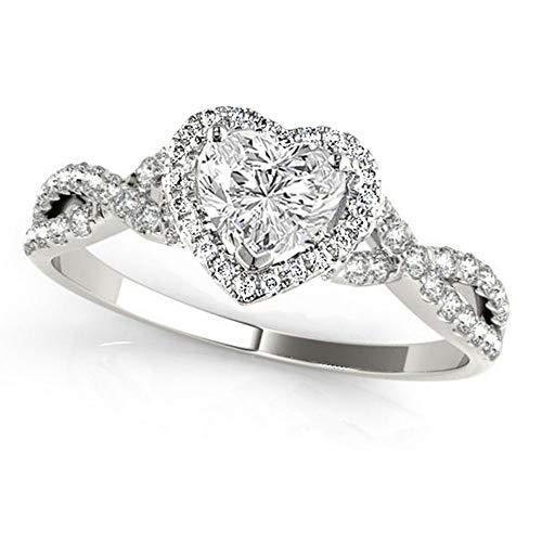 (Twisted Heart Diamond Engagement Ring Palladium (1.00ct) )