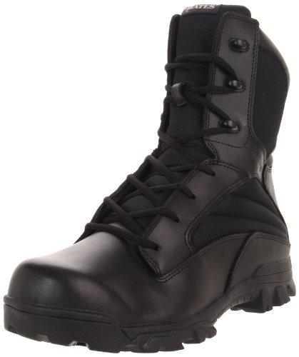 Bates Mens 8 Inch Leather Nylon Side Zip Uniform Boot  Black  10 M Us