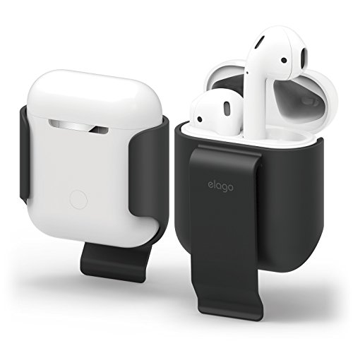 elago AirPods Belt Clip [Black] - [Compatible with Apple AirPods 1 & 2][Convenient Portability][Protection][Soft Feel Coating] - for AirPods 2 and 1
