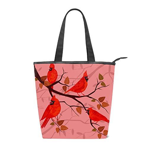 Women Canvas Handbag Red Cardinal Birds Purse Shoulder Bag Messenger Bag Mom Bag