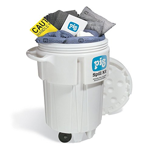 New Pig Spill Kit in 95-Gallon Wheeled Overpack Salvage Drum, Absorbs Oils, Coolants, Solvents & Water, 60-Gal Absorbency, Wheeled Mobile Spill Kit, KIT241 ()