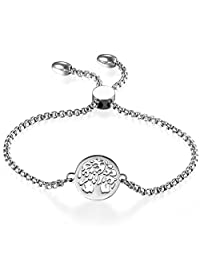Women Adjustable Bracelet,Cupimatch Tree of Life Silver Stainless Steel Charm Bracelet Link Ankle Chain 8.9""