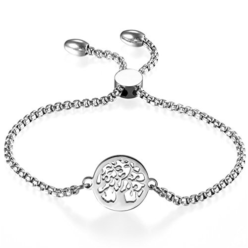 Cupimatch Women Adjustable Bracelet, Tree of Life Silver Stainless Steel Charm Bracelet Link Chain 8.9