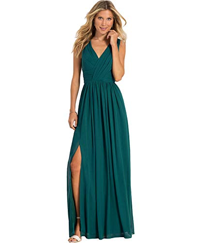 Women's A Line Simple Slit Chiffon Evening Dresses Long Formal Bridesmaid Party Dress Teal Green US12