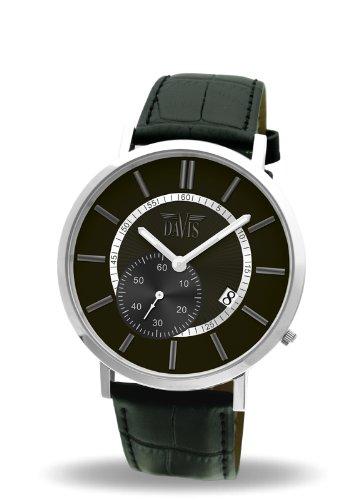 Davis 1620 - Reloj analógico de Cuarzo para Hombre con Correa de Piel, Color Negro