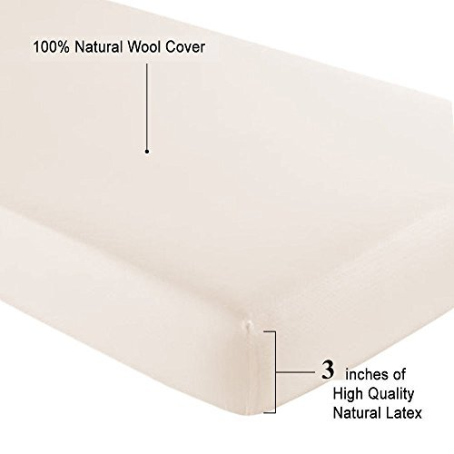 All Natural Latex, Wool coverd pads for Mini, Porta Crib, Co Sleeper and Playards - 3' Thickness (Mini Sleeper-Firm 18x31)