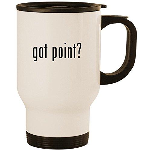 got point? - Stainless Steel 14oz Road Ready Travel Mug, White