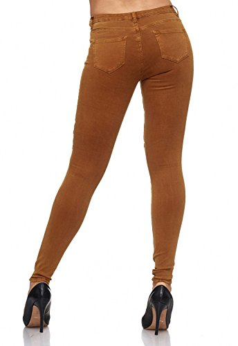 Femmes Panel Jeans Knee Jeans Jaune ArizonaShopping Hipsters Stretch Hipsters Biker Coutures Effect Camel Jeans D2081 aYxYX5