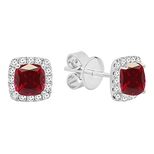 Dazzlingrock Collection 18K Each 4 MM Cushion Ruby & White Round Diamond Ladies Square Frame Halo Stud Earrings, White Gold