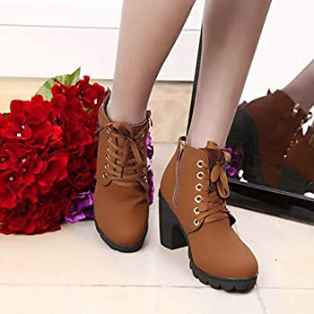 Details about  /Winter Women Fashion Buckle Ankle Boots High Heels Zipper Lace Up Boots N