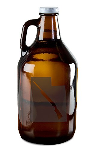 State of Utah with Shotgun Cutout Etched Growler for Beer, Wine, Whiskey, Moonshine, and More!