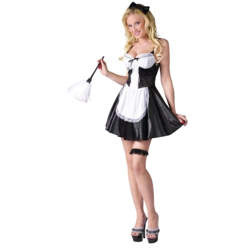Fun World Women's Fancy French Maid Costume Black/White Small/Medium (French Maid Party)