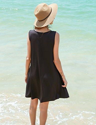 HOTOUCH - Vestido - Túnica - Sin mangas - para mujer negro