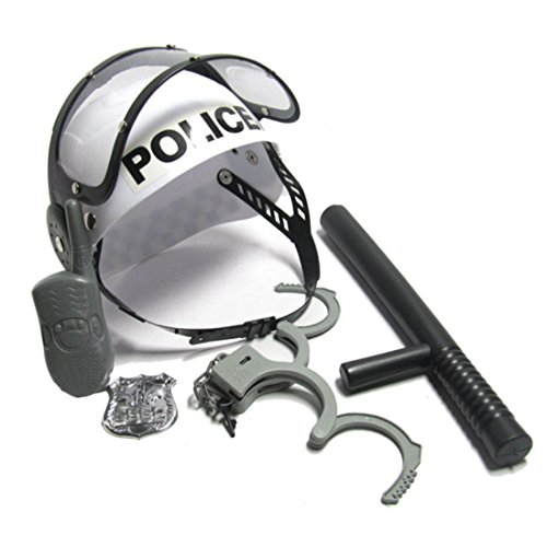 Role Play Play, WOLFBUSH Policeman Role Play Boys Toy Camouflage Hat Walkie Talkie Police Baton Emblem Handcuffs (Costume Role Playset)