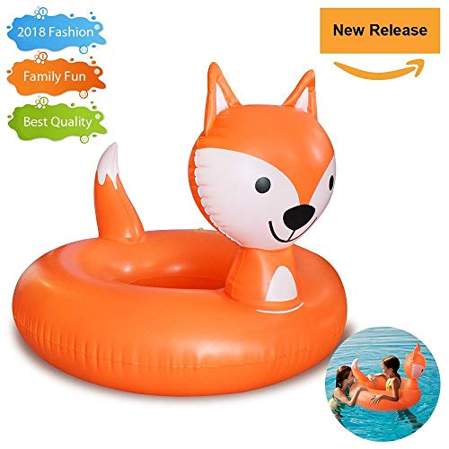 Ring Coupe - Pool Floats, Fox Pool Float for Kids Inflatable Float Ring with Rapid Valves Durable Pool Floaties Swimming Water Raft Tube Beach Outerdoor Pool Party Lounge Decorations Toys for Children Girls Boys