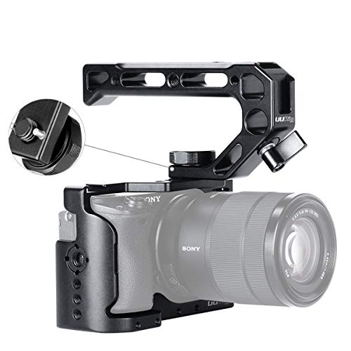 Handheld Video Metal Cage Kit with Top Handle Grip for Sony A6400 A6300 A6100 Professional Microphone/Video Light Extension Mounting W Cold Shoe, Video Vlog Film Making, Arri Locating Hole