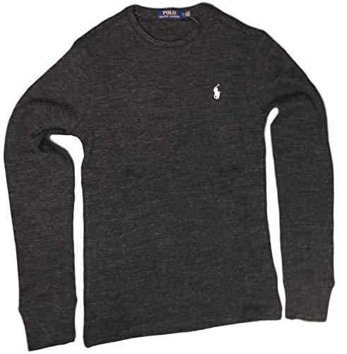 Thermal Shirt Mens Phoenix - Polo Ralph Lauren Men's Long-Sleeved T-Shirt/Sleepwear / Thermal Waffle Shirts (Medium, Black Heather)
