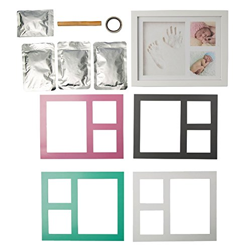 Baby Handprint, Footprint & Picture Frame Kit - Memories Keepsake - Shower Gift for Boys & Girls Registry - Clay & Wooden Photo Frame in White, Pink, Tiffany Blue or Gray - Wall Mount & Table Stand