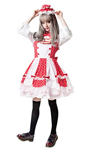 Lolita Fairy Princess on The Pea Empire Waist Polka dots Dolly Dress w/hat JE3002 (red)