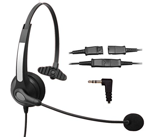 Voistek Corded Call Center Telephone Headset Noise Cancelling Headphone with Flexible Microphone for Cisco Linksys Polycom Panasonic Office Deskphone DECT Cordless and Cell Phones with 2.5mm Headset Jack (Mono QD S10NP25) ()