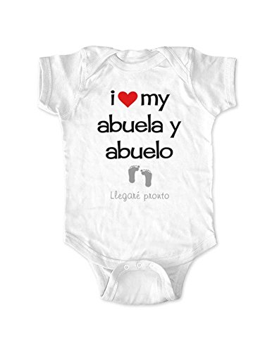 cute & funny I Love My Abuela y Abuelo Llegare Pronto Baby Birth Pregnancy Announcement Spanish (Newborn Bodysuit, White)