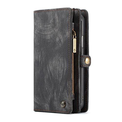 KONKY Caseme iPhone X Wallet Case, Magnetic Detachable Removable Phone Cover Pouch Folio Durable Leather Purse Flip Card Pockets Holder Bag Smooth Zipper - Black Black Leather Wallet Pouch Case