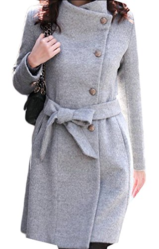 Wool Belted Military Coat - Generic Women Single Breasted Trench Coat Belted Long Wool Pea Coat Overcoat Gery S