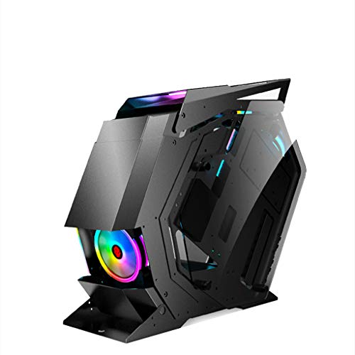LIQIANG Gaming Computer Case, Mid-Tower ATX PC Gaming Case, Tempered Glass Side Panel, Unique Shape Design, for Desktop PC