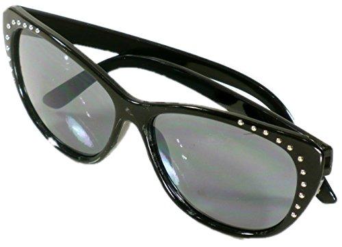 Solar Flair Womens Black Rhinestone Jeweled Cat Eye 2.25 Inch - Auction Sunglasses