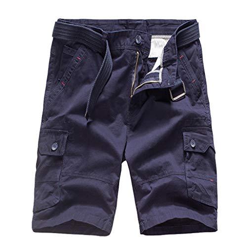 Coton Travail Pantalons Manches Décontracté Courts Hommes Solide Bleu Pantalon En De Courtes Pour À wUqPYf
