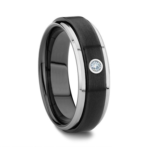 Stylish Two Tone Wedding Band (Two Tone Raised Black Ceramic Center Solitaire Diamond Tungsten Wedding Band (6mm) (6.5))