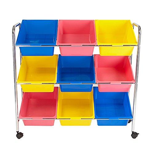 Mind Reader Toy Storage Organizer with 9 Storage Bins, Kids Storage for Bedroom