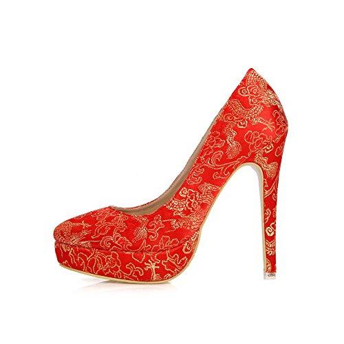 Amoonyfashion Femme Bout Pointu Pointes Talons Aiguilles Matériaux Mélangés Brodé Pompes-chaussures Rouge