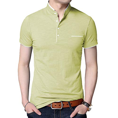 (BITLIVE Men's Casual Slim Fit Short Sleeve Polo T-Shirts Cotton Shirts with Fake Pocket (Large, Lime-Green))