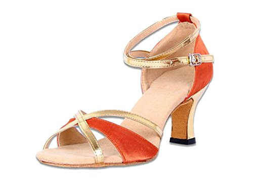 Soft Straps Shoes gold soled for Gold Orange 2016 Women Latin Dance Trendy Cutout Black Ankle IqFFSg