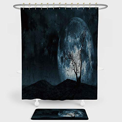 iPrint Fantasy Shower Curtain And Floor Mat Combination Set Night Moon Sky with Tree Silhouette Gothic Halloween Colors Scary Artsy Background For decoration and daily use Slate Blue ()