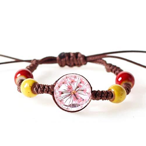 Wrist Decoration Vintage Appeal Bracelet Handmade Real Dried Out Flower Glass Ball Weave Adjustable Bracelets Bangle for Ladies Boho Jewelry