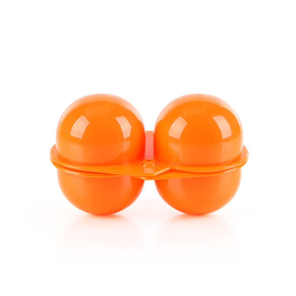 Asien 1 Pack 2 Cavities Folding Portable Plastic Egg Holder Storage Box Container Hiking Picnic Outdoor Camping Carrier for Egg Case (Orange)